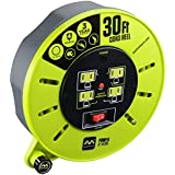 Masterplug 30ft Heavy Duty Extension Cord Cassette Reel with 4 120V / 10 amp Integrated Outlets