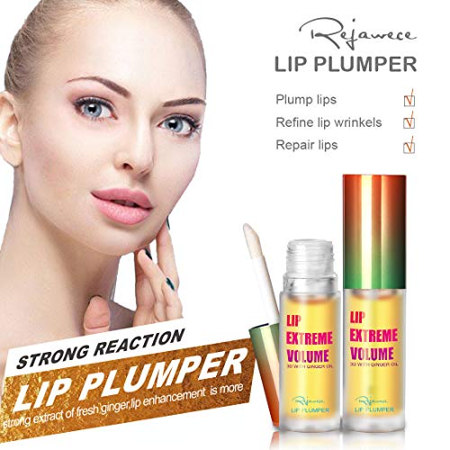 Lip Plumper Lip Gloss by Rejawece - Lip Plumping Balm Plumper Device Lipstick Treatment - Clear Lip Plump Gloss - Enhancer for Fuller & Hydrated Lips | Give Volume, Moisturize (Strong)