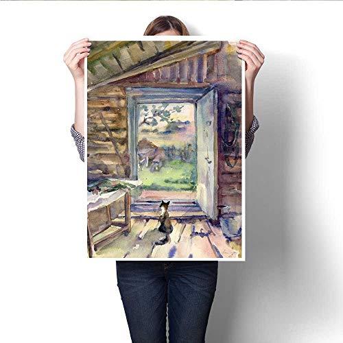 Anshesix Canvas Print Wall Art Village Russia Summer rain Cat Gouache Watercolor Artwork for Wall Decor 20