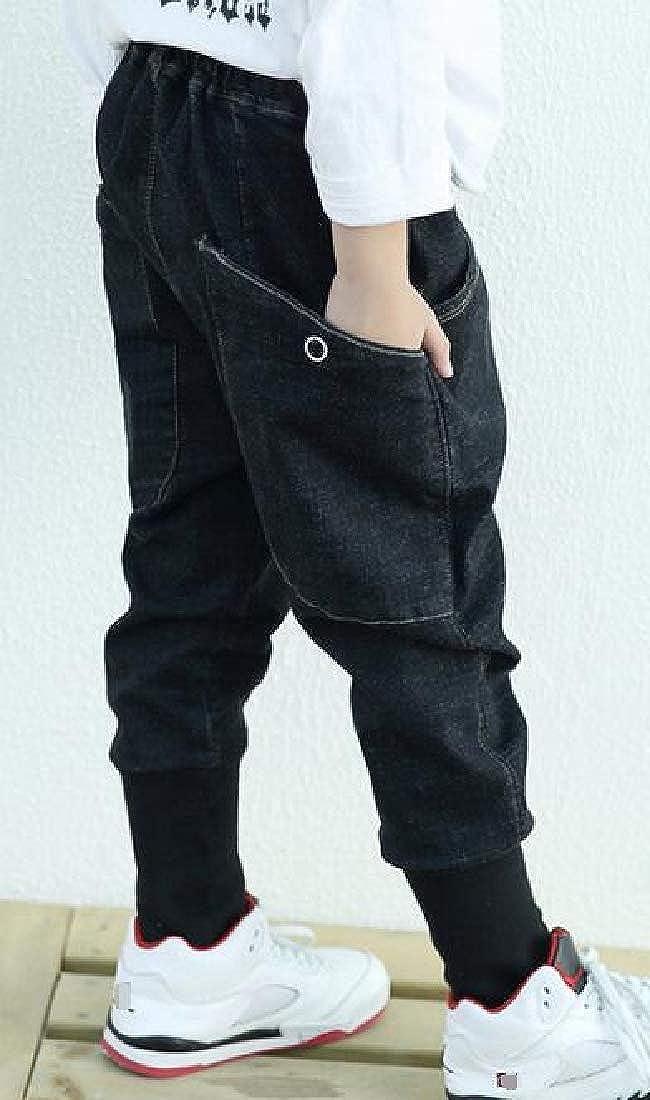 Wofupowga Little Kids Boy Vogue Big Pockets Jean Denim Harem Jogger Pants