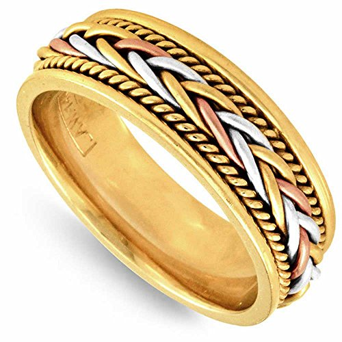 14K Tri Color Gold Braided French Braid Men's Comfort Fit Wedding Band (7mm) Size-15.5c1 ()
