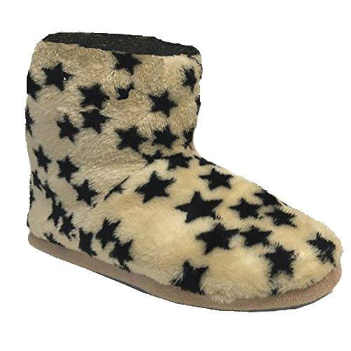 JEMIDI - Zapatillas de estar por casa para mujer Beige beige Beige - Beige mit Sternen Stiefel