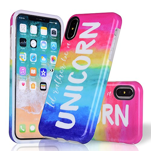COSANO iPhone X Case, iPhone 10 Case Marble Pattern[Supports Wireless Charging][Anti-Scratch/Anti-fingerprints][Shockproof] Rainbow Flexible TPU Ultra Thin Protective Cover (Unicorn X)