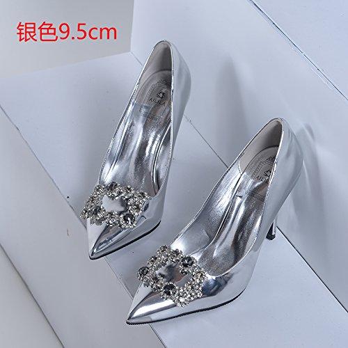 zapatos Tacones noche cristal tacones plata Zapatos mujer novia con perforación de Botas boda de de altos 5 de de Zapatos 34 cm agua HUAIHAIZ lady 9 RwpHfxR