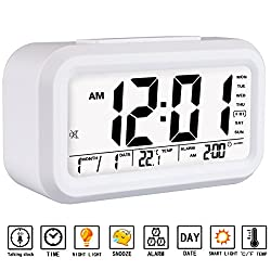 Alarm Clock, Aitey Talking Alarm Clock with Large Digital Display, Optional Weekday Alarm, Snooze, 3 Alarms, 7 Rings and Low Light Sensor Technology (White)