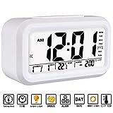 Alarm Clock, Aitey Talking Alarm Clock with Large Digital Display, Optional Weekday Alarm, Snooze, 3 Alarms, 7 Rings and Low Light Sensor Technology (White)