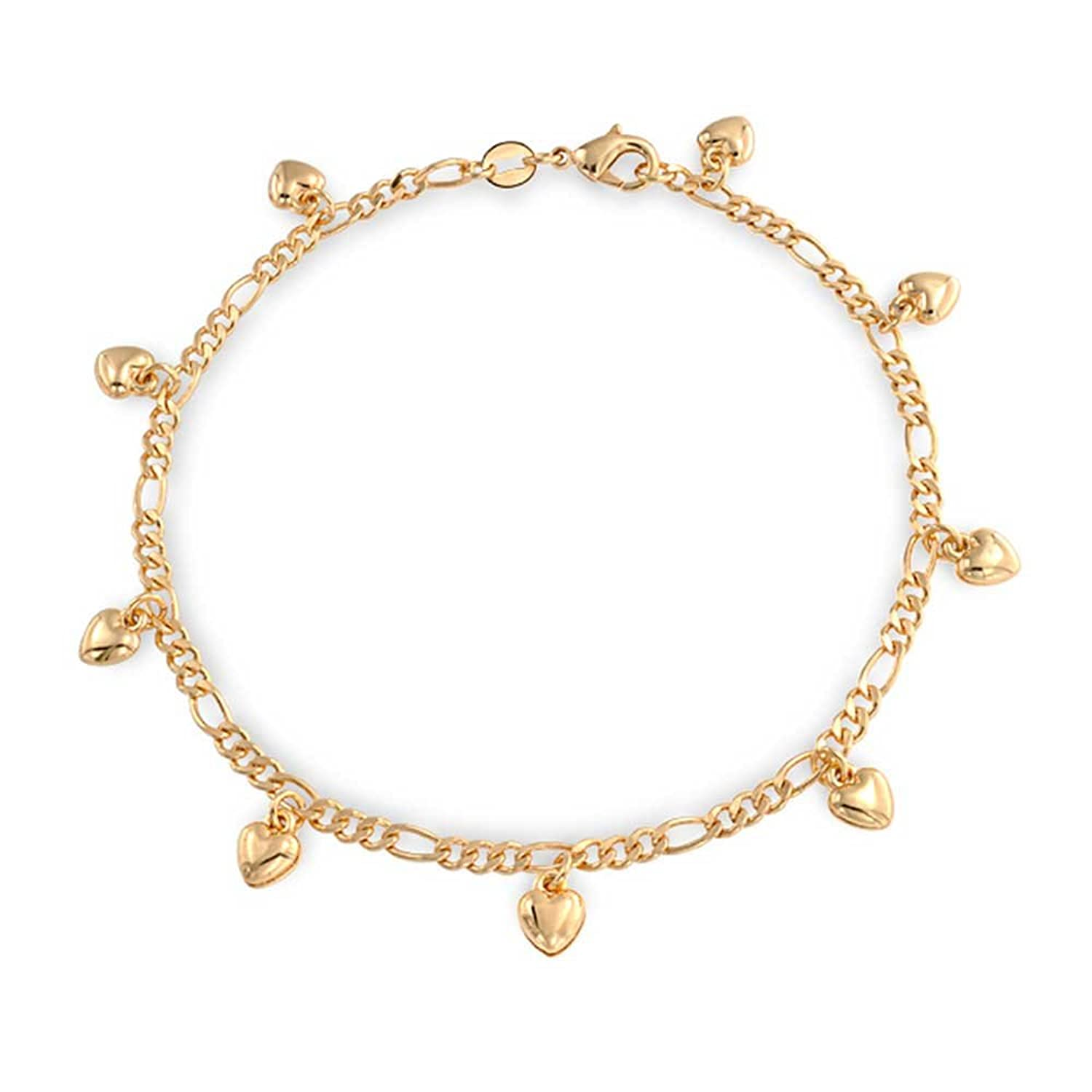 foot plated chain charms ankle of itm heart rose made gold with stainless charm new bracelet bracelets anklet steel