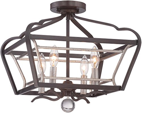 Minka Lavery 4347-593 Astrapia Semi Flush Mount Ceiling Light Square Lighting Fixture, 4 Light, 240 Watts, Dark Rubbed Sienna and Aged Silver
