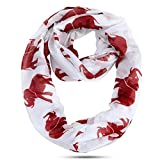 Lightweight Crimson White with Red Elephants Oversized Infinity Scarf (42x32 inches)