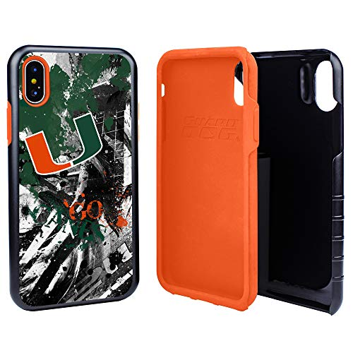 Guard Dog Miami Hurricanes PD Spirit Hybrid Case for iPhone Xs Max with Guard Glass Screen Protector