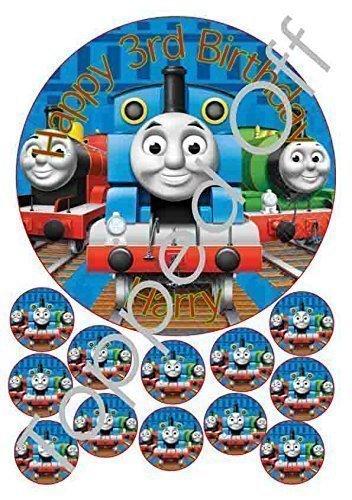 Thomas die kleine Lokomotive - 2.5x19.1cm & 30.5x3.8cm rund Fondant Glasur essbarer Kuchenaufsatz und bedruckt mit Ihrem gewünschten Gruß (Geburtstagspackung)