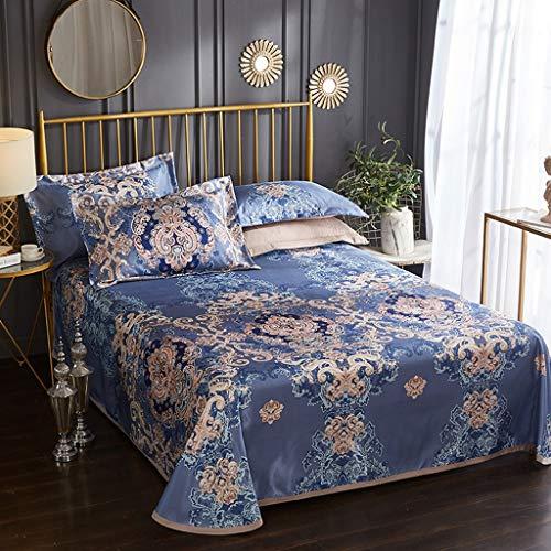 YANQING Ice Silk Mat Foldable - Cooling Topper Mat Mattress - Summer Cool Bed Sheet Mat Bedding Sets - Breathable Ice Silk Mattress Mat Pillow Cover - Ultra Soft Microfiber (Size : 245250CM)