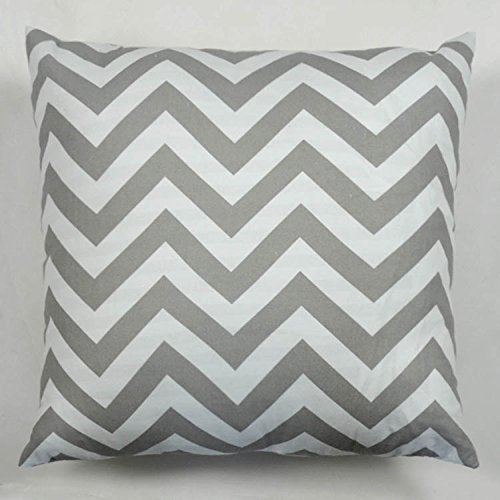 atjcworkshop Cjeremy2000 18 X 18 Inches Decorative Cotton Canvas Square Throw Pillow Cover Cushion Case Handmade Chevron Stripe Toss Pillowcase with Invisible Zipper Closure(Grey)