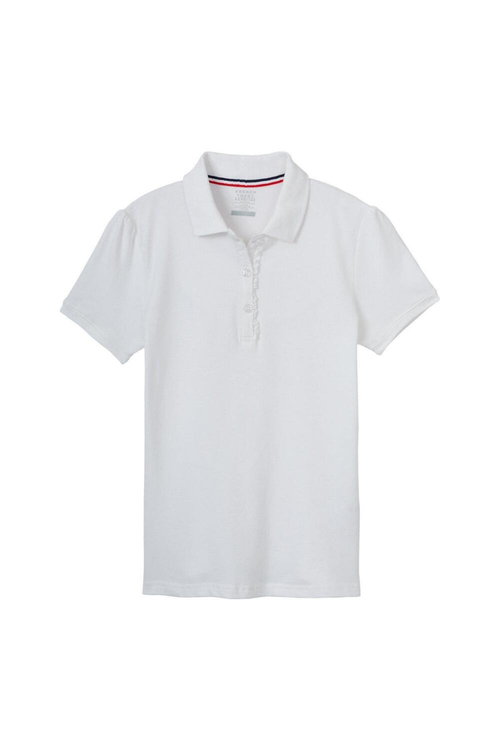 French Toast Toddler Girls' Short Sleeve Stretch Ruffle Polo, White, 4T