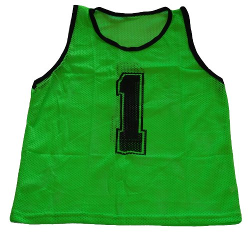 Workoutz Numbered Adult Green Scrimmage Vest Set (12 Qty) Soccer Pinnies ()