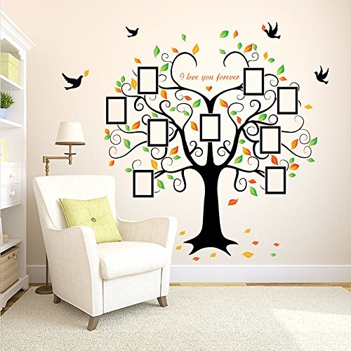 Family Tree Wall Decal - 9 Large Photo Picture Frames - Peel and Stick Wall Decal - Best Removable Wall Decal for Living Room, Bedroom, Kids Rooms, Mural Decor - 80'' Wide x 63'' Tall by GoGoDecal (Image #1)