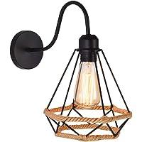 WOWEWA Apliques de Pared Vintage Jaula con cuerda de cáñamo Lámpara Industrial Lámpara de Pared,Casquillo E27,Color Negro,Metal Sconce sombra de iluminación (1)