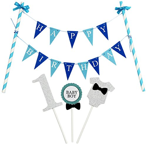 KUNGYO Mini Happy Birthday Cake Bunting Banner Cake Topper Garland - Handmade Pennant Flags 1ST First Baby Boy Birthday Party Cake Decoration Supplies (Boy First Birthday Cake Topper)