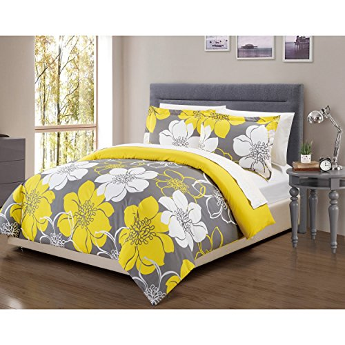 3-Piece-Girls-Yellow-White-Grey-Black-Floral-Theme-Duvet-Cover-King-Set-Pretty-Chic-Sunshine-All-Over-Flower-Bedding-Beautiful-Girly-Abstract-Flowers-Pattern-Solid-Reversible-Gray-Themed