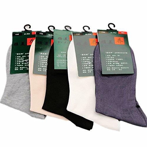 5-Pack Mens 100% Silk Socks mid Calf Free p&p Black White Gray_Fit All Seasons