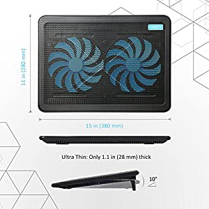 AVANTEK Laptop Cooling Pad, 2 x 160mm Heavy Duty Fans, Ultra Slim Quiet Notebook Cooler with Adjustable Mounts, 2 USB Ports, Blue LED Lights