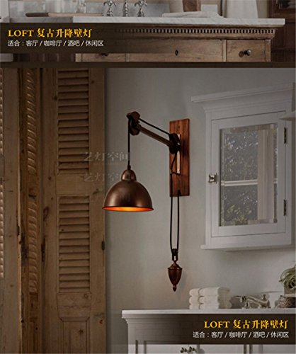 Bedroom Spindle (Industrial Vintage Wall Sconce Arts Light Space Industry Wall Lights aidmo Modern Iron Spindle Pulley Wall Lights Cafe Bar Wall Lights)