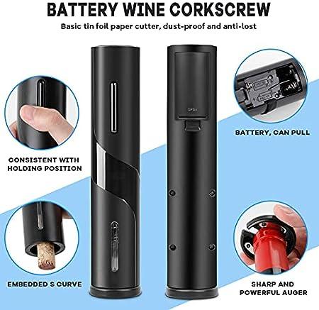 Conjunto de Abrigos de Vino eléctrico - Cortescorios portátiles automáticos eléctricos - Acero Inoxidable Abrelaje automático Botella de Botella Kit de sacacorchos de Vino, One Button Bottle Abreter