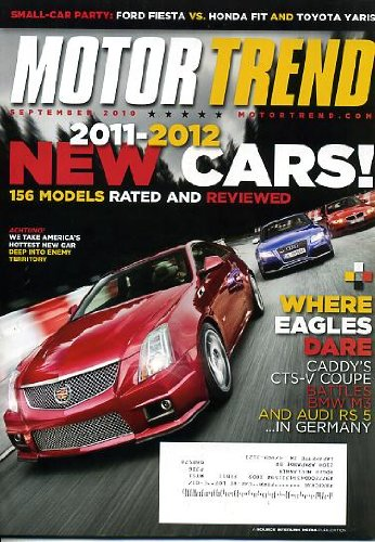 Motor Trend September 2010 Cadillac CTS-V Coupe & BMW M3 & Audi RS 5 on Cover, 2011-2012 New Cars - 156 Models Rated & Reviewed, Ford Fiesta vs Honda Fit & Toyota Yaris