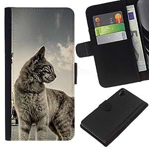 Sony Xperia Z2 D6502 D6503 D6543 L50t L50u , la tarjeta de Crédito Slots PU Funda de cuero Monedero caso cubierta de piel ( Cat Shorthair House Pet Blue Grey Cute Kitten)