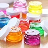 Chuangchou Empty Clear Plastic Slime Storage Favor Jars Wide-mouth Plastic Containers with White Lids (12 Pack) for Beauty Products, DIY Slime Making or Others (6 oz)