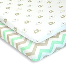Cuddly Cubs Pack n Play Playard Sheets - Set of 2 Jersey Cotton Fitted Sheets for Mini/Portable Crib Mattress - Gray and Mint with Chevron & Baby Elephants - TOP QUALITY Nursery Bedding for Boy/Girl