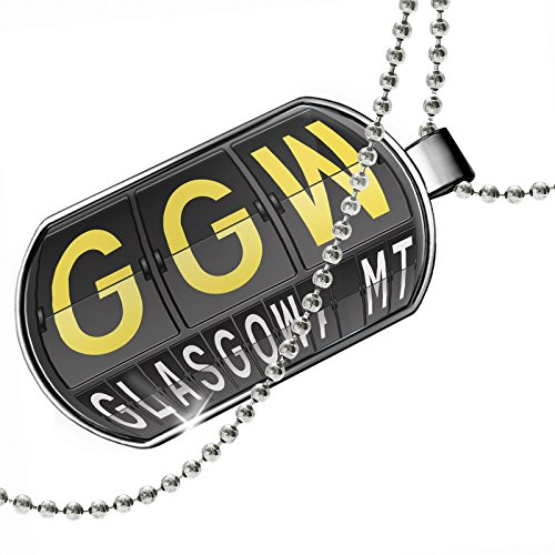 Dogtag GGW Airport Code for Glasgow, MT Dog tags necklace - - Shops Airport Glasgow