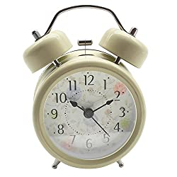 HENSE Classical Retro Twin Bell Mute Silent Quartz Movement Non Ticking Sweep Second Hand Bedside Desk Analog Alarm Clock with Nightlight and Loud Alarm HM15