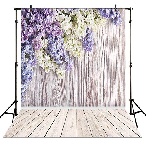 Allenjoy 5x7ft Sprine Violet Floral Wood Wall Photography Backdrop Valentine's Day Easter White Purple Flowers Wooden Floor Portraits Background Photo Studio -