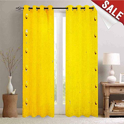 Hengshu Yellow Window Curtain Drape Vintage Worn Out Dirty Industrial Wall Plate and Tacks Photo with Productivity Theme Customized Curtains W108 x L96 Inch Yellow
