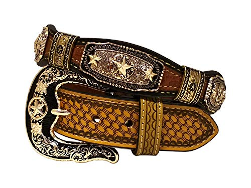West Star Gold Concho Crocodile Stylish Genuine Leather Cowboy Emboss 1.5 Inches Belt¡