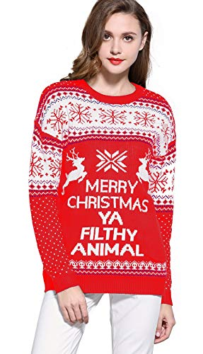 - V28 Women's Christmas Reindeer Snowflakes Sweater Pullover (Tag M (US size 8), Red-PairedRD)