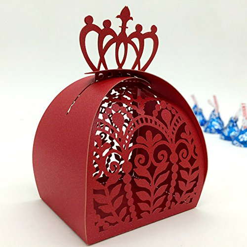 WOMHOPE 50 Pcs - European Style Crown Lock Hollow Laser Cut Wedding Candy Box Chocolate Candy Wrappers Holders Party Favors for Bridal Shower,Wedding,Party,Birthday (Red) by WOMHOPE