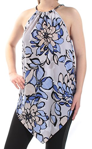 Chain Print Halter - Alfani Womens Floral Print Chain-Neck Halter Top Blue S