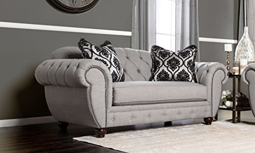 Furniture of America Bowie Modern Victorian Tufted Love Seat, Gray