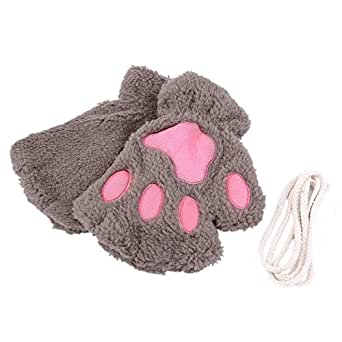 sofe women winter claw gloves fluffy bear paw mittens lady. Black Bedroom Furniture Sets. Home Design Ideas