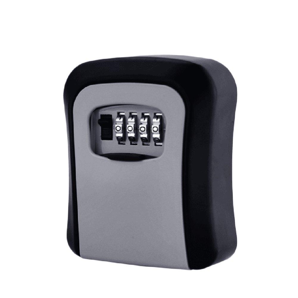 "SHZONS Key Lock Box, 3pcs Wall Mounted Zinc Alloy Key Safe Box,4-Digit Combination Lock Box,Key Storage Lock Box Indoor Outdoor,Resettable Code,4.72''x 3.26""x 1.37''"
