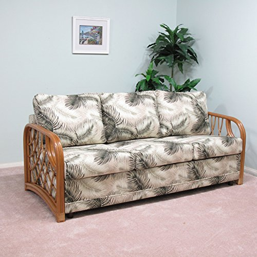 Made in USA Rattan Queen Sofa Sleeper Bed Contract Quality (#1726H-MN) ()
