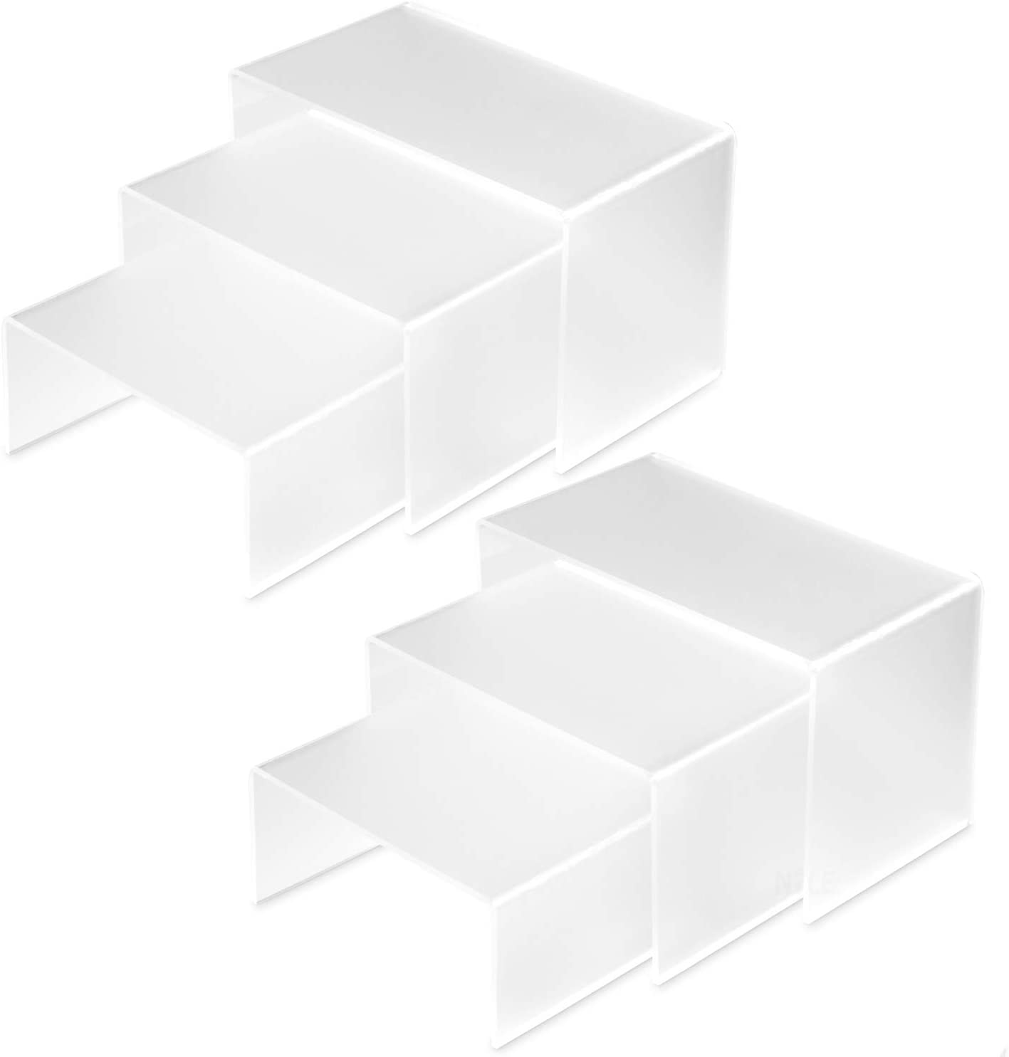 Ikee Design Acrylic 6Pcs Sets Acrylic Display Risers, Jewelry Display Riser Shelf Showcase Fixtures for Cup Cakes, Jewelry, Collections, Showcase Display, White Frost.