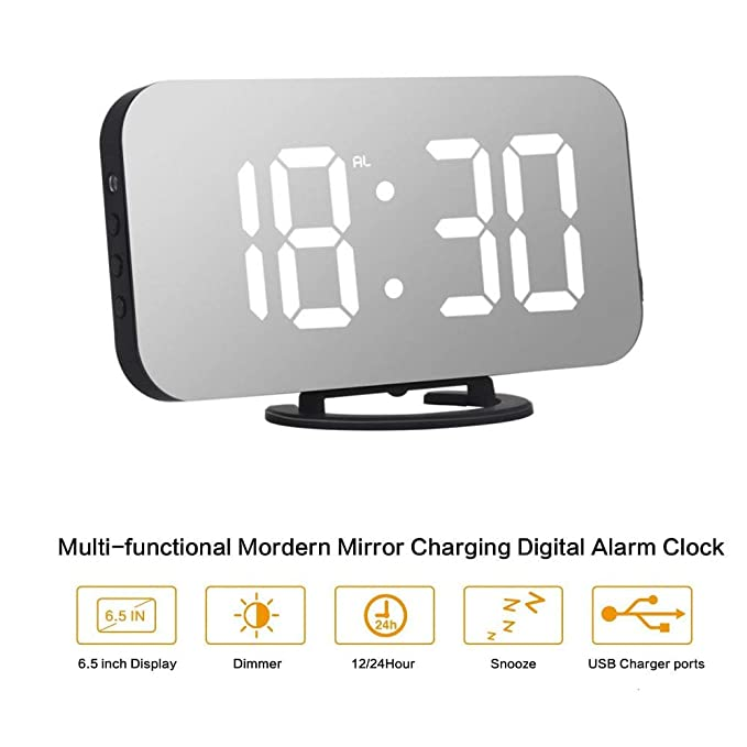 ORSERA Despertador Digital Espejo LED Despertador, Espejo Reloj Digital Moderno con Función de Alarma y Dual USB Puertos, Snooze y Memoria Automática, ...