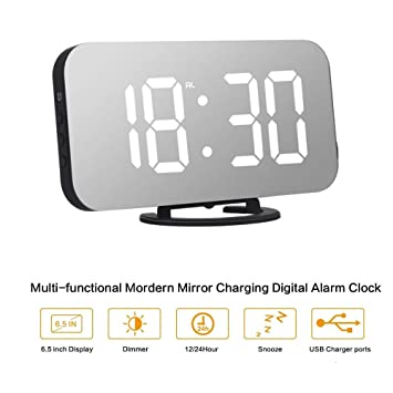 ORSERA Despertador Digital Espejo LED Despertador, Espejo Reloj Digital Moderno con Función de Alarma y