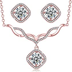 Womens Jewelry Set, Curved V-Necklace Earrings Necklaces Jewelry Set Christmas Gifts, Rose Gold