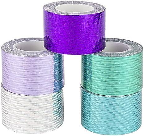 kalte Farben, Laserpoints 30mm x 5m Hologramm Washi Tape Ideen mit Herz Deko-Klebeband 5 Laseroptik gelasert Masking Tape Dekoband 5 Rollen Holografie