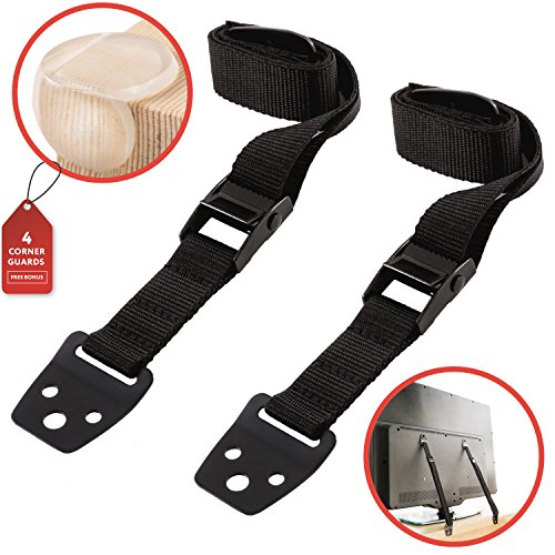 Waycy Anti-Tip TV Safety Straps for Flat Screen & Furniture Anchor Straps & (Full Flat Panel Drawer)
