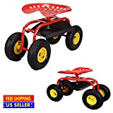 Produit Royal Red Rolling Work Seat Garden Cart with Tool Tray Gardening Planting Heavy Duty Scooter Stools Yard Lawn Wheel Wheels Storage Outdoor Chair New